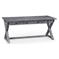 Jonathan Charles Home Antique Dark Grey Style Walnut Desk 491058-ADG Antique Dark Grey on wood