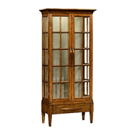 Jonathan Charles Home Plank Country Walnut Tall Glazed Cabinet 491063-CFW Walnut Country Farmhouse