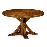 "Jonathan Charles Home 53"" Country Walnut Parquet Round-To-Oval Dining Table 491068-53D"