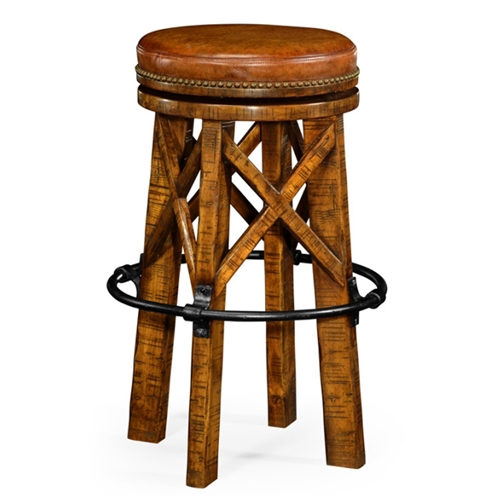 Jonathan Charles Home Country Walnut Bar Stool Revolving Seat 491071 Adg