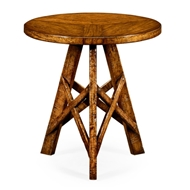 Jonathan Charles Home Country Walnut Rustic Lamp Table With Circular Top 491075