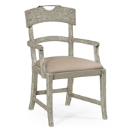 Jonathan Charles Home Armchair With Upholstered Seat In Rustic Grey 491076-AC-RGA-F001 Rustic Grey Acacia