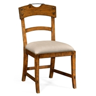 Jonathan Charles Home Country Walnut Side Chair With Upholstered Seat 491076-SC-CFW-F001 Walnut Country Farmhouse