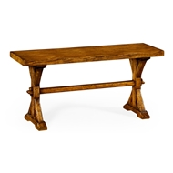 Jonathan Charles Home Narrow Solid Country Walnut Topped Bench 491088
