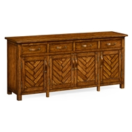 Jonathan Charles Home Country Walnut Parquet Sideboard With Strap Handles 491093