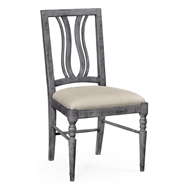 Jonathan Charles Home Upholstered Side Chair In Antique Dark Grey - Set of 2