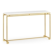Jonathan Charles Home Gilded Iron Large Console Table With Biancaneve Top 491107