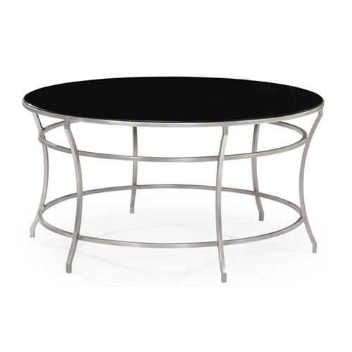 Jonathan Charles Home Silver Round Iron Coffee Table
