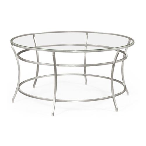 Jonathan Charles Home Silver Round Iron Coffee Table 491111 S Gcl Gilded Antique