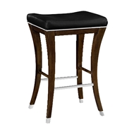 Jonathan Charles Home Counter Stool In American Walnut And Black Lacquered Seat 491117-AMW-SLW American Walnut on wood