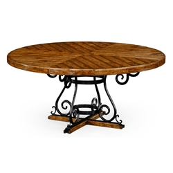 "Jonathan Charles Home 66"" Country Walnut And Wrought Iron Dining Table 491125-66D"