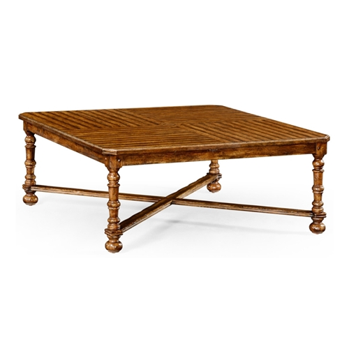 Jonathan Charles Home Country Walnut Large Square Parquet Coffee Table