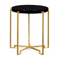 Jonathan Charles Home Gilded Iron Round Lamp Table In Smoky Black Top 491136