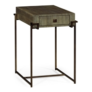 Jonathan Charles Home Light Bronze Iron Rectangular End Table In Chestnut