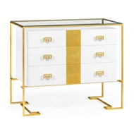 Jonathan Charles Home Gilded Iron Chest Of Drawers In Biancaneve 491150-G-WGL Gilded Iron (Least Antique)