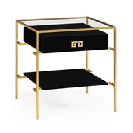 Jonathan Charles Home Gilded Iron Side Table In Smoky Black 491151