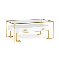 Jonathan Charles Home Gilded Iron Coffee Table In Biancaneve 491152
