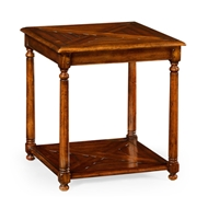 Jonathan Charles Home Square Parquet Topped Side Table With Undertier