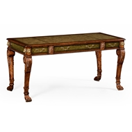 Jonathan Charles Home Italian Lions Paw Desk (Leather & Walnut) 492173-WAL Walnut Medium