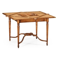 Jonathan Charles Home Walnut Leather Games Table With Geometric Inlays 492264-WAL Walnut Medium
