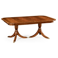 Jonathan Charles Home Regency Crotch Walnut Extending Dining Table
