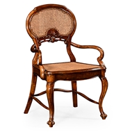 Jonathan Charles Home French Style Salon Chair With Caned Back (Arm) 492276-AC-WAL Walnut Medium
