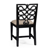 Jonathan Charles Home Black Painted Serpentine Open Back Dining Side Chair - Set of 2