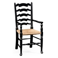 Jonathan Charles Home Black Painted Ladder Back Armchair - Set of 2