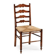 Jonathan Charles Home Ladder Back Country Chair With Rushed Seat 492304-SC-WAL Walnut Medium