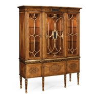 Jonathan Charles Home Satinwood Display Cabinet With Glomis Details 492437-SAM-GES Satinwood Medium