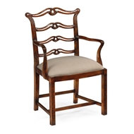 Jonathan Charles Home Chippendale Style Mahogany Pierced Back Dining Armchair 492468-AC-MAH-F001 Antique Mahogany Light