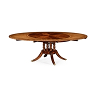 "Jonathan Charles Home 53"" Mahogany And Satinwood Round To Oval Dining Table"