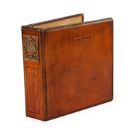 Jonathan Charles Home 3 Ring Leather Binder (Letter) 492596-L005 Leather Parliament Red Medium -Solvent Base