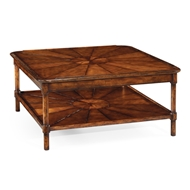 Jonathan Charles Home Square Rustic Walnut Coffee Table 492599
