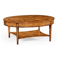 Jonathan Charles Home Sheraton Satinwood Oval Coffee Table