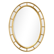 Jonathan Charles Wall Decor Oval Panelled Gilded Mirror (Plain Mirror Glass) 492697-GIL-GPM Antique Gold-leaf light with rub-through