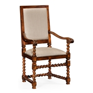 Jonathan Charles Home Carolean Style Chair With Upholstered Back (Arm) 492741-AC-WAL-F001 Walnut Medium