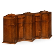 Jonathan Charles Home Triple Decanter Set In Conjoined Square Cases 492781-WAL Walnut Medium
