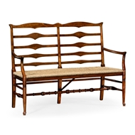 Jonathan Charles Home Double Ladder Back Bench 492803-WAL Walnut Medium