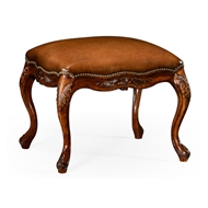 Jonathan Charles Home Large French Provincial Walnut Footstool Leather 492813-WAL-L002 Walnut Medium