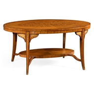 Jonathan Charles Home Marquetry Inlaid Satinwood Coffee Table