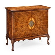 "Jonathan Charles Home Crotch Walnut ""Flaming Veneer"" Side Cabinet 492827-CWL Crotch Walnut Light on Wood"