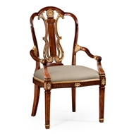 Jonathan Charles Home Neo-Classical Gilded Lyre Back Dining Armchair 492836-AC-MAH-F001 Antique Mahogany Light