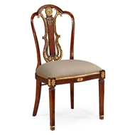 Jonathan Charles Home Neo-Classical Gilded Lyre Back Dining Side Chair 492836-SC-MAH-F001 Antique Mahogany Light