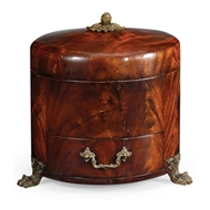 Jonathan Charles Home Crotch Mahogany Jewellery Round Box 492978-MAH Antique Mahogany Light