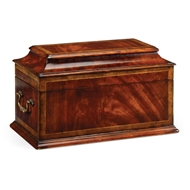 Jonathan Charles Home Crotch Mahogany Coffer Box 493002-MAH Antique Mahogany Light