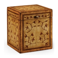 Jonathan Charles Home Sheraton Style Square Marquetry Box 493004-WLL Walnut Light