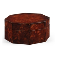 Jonathan Charles Home Octagonal Mahogany Crotch Veneer Box 493024 Antique Mahogany Light