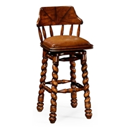 Jonathan Charles Home Country Style Walnut Leather Barstool 493025 Walnut Medium