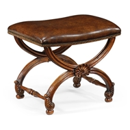 Jonathan Charles Home French Style Walnut Footstool With Shell Decoration 493052